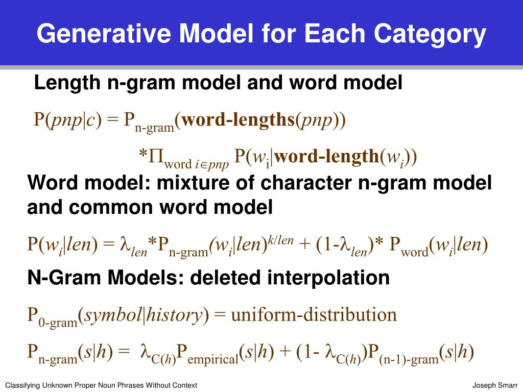 Generative Model for Each Category