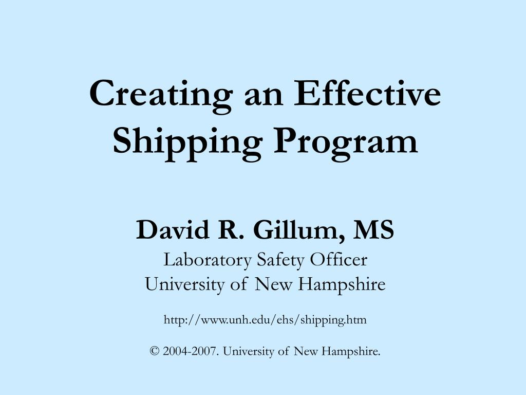 creating an effective shipping program l.