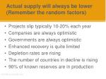 actual supply will always be lower remember the random factors