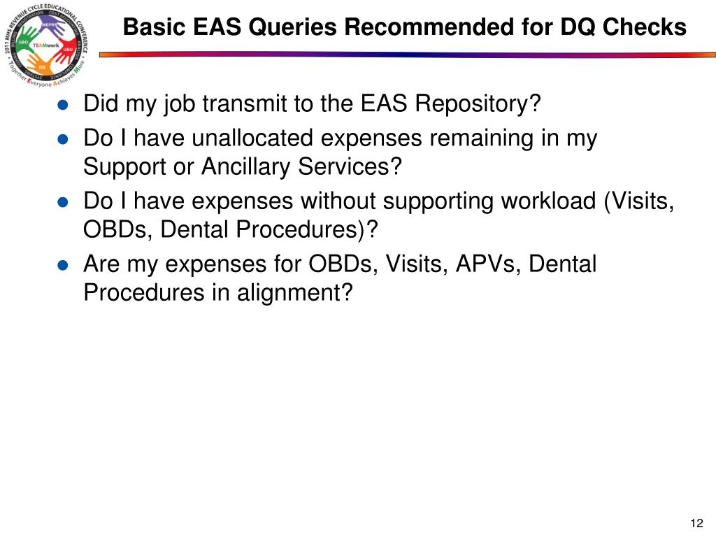 Basic EAS Queries Recommended for DQ Checks