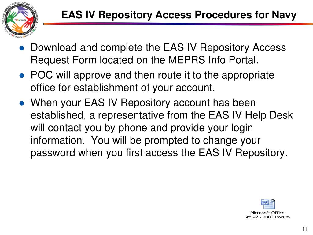 EAS IV Repository Access Procedures for Navy