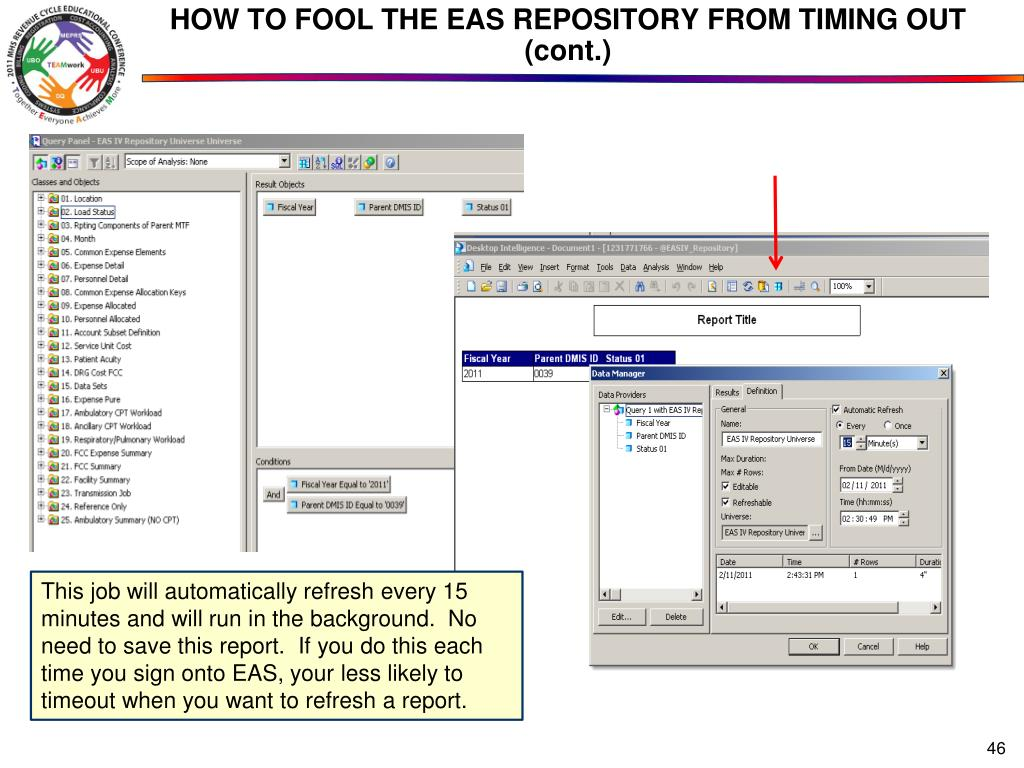 HOW TO FOOL THE EAS REPOSITORY FROM TIMING OUT (cont.)