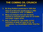 the coming oil crunch cont d