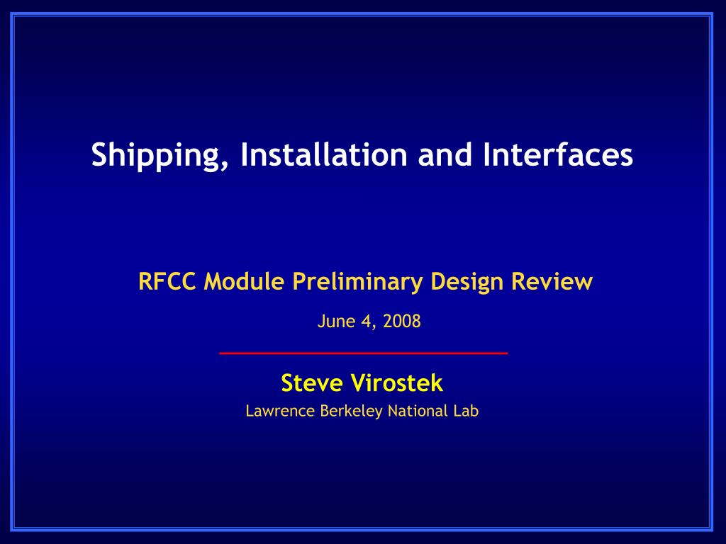 shipping installation and interfaces l.