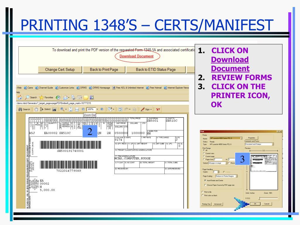PRINTING 1348'S – CERTS/MANIFEST