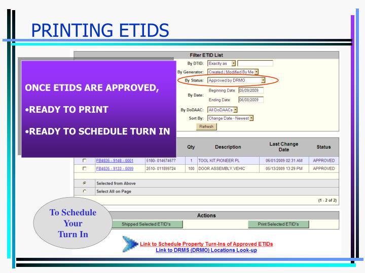 Printing etids