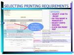 selecting printing requirements