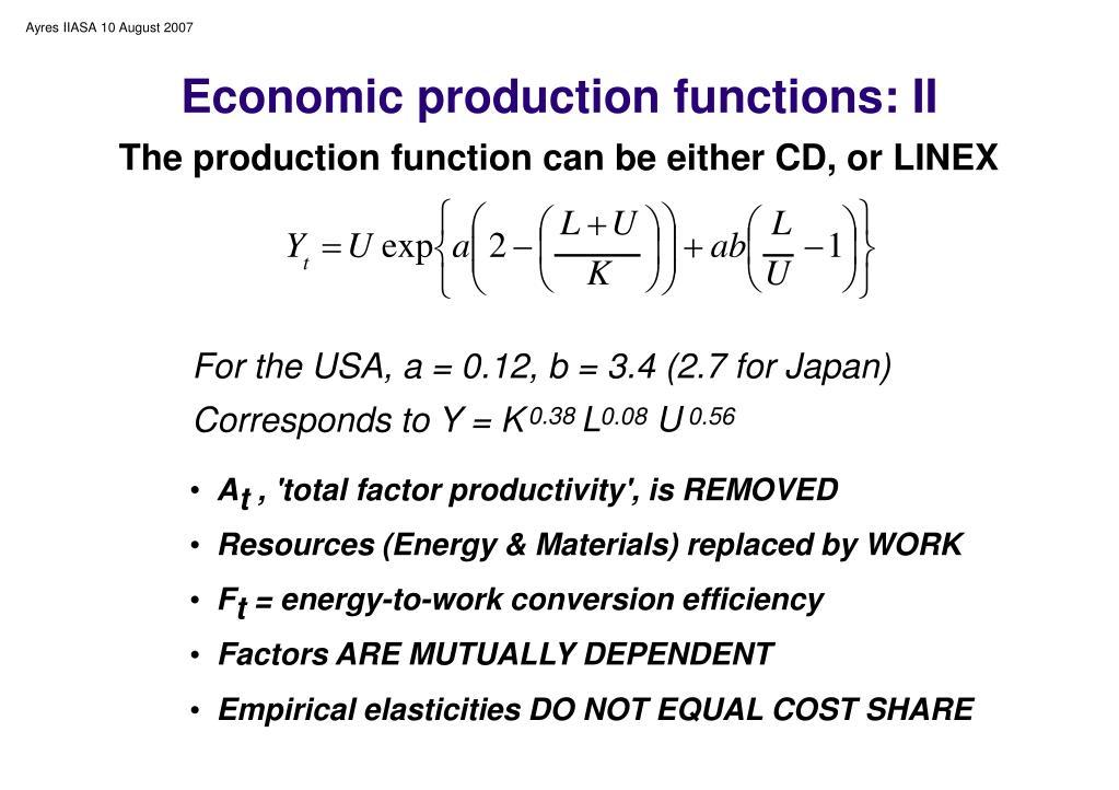 Economic production functions: II