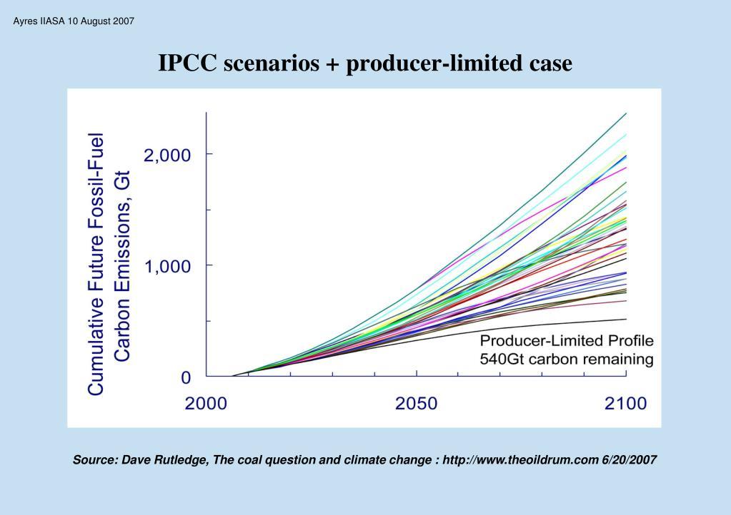 IPCC scenarios + producer-limited case