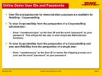 online demo user ids and passwords