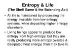 entropy life the shell game the balancing act