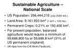 sustainable agriculture national scale