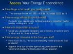 assess your energy dependence