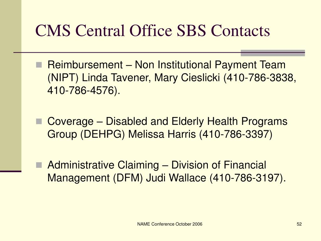 CMS Central Office SBS Contacts