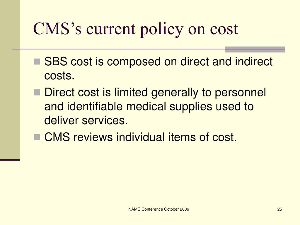 CMS's current policy on cost