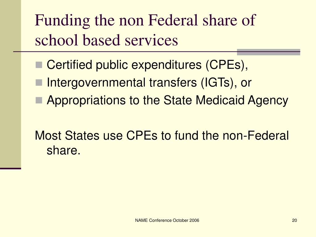 Funding the non Federal share of  school based services
