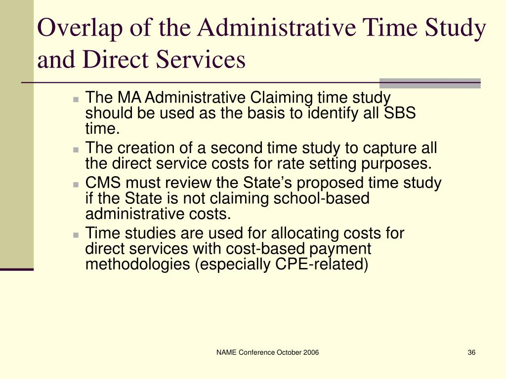Overlap of the Administrative Time Study and Direct Services