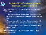 basis for noaa s atlantic seasonal hurricane outlooks cont d