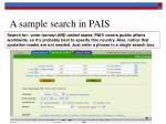 a sample search in pais