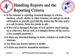 handling reports and the reporting criteria19