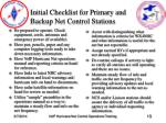 initial checklist for primary and backup net control stations