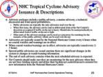 nhc tropical cyclone advisory issuance descriptions