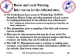 radar and local warning information for the affected area