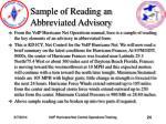 sample of reading an abbreviated advisory
