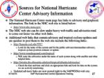 sources for national hurricane center advisory information