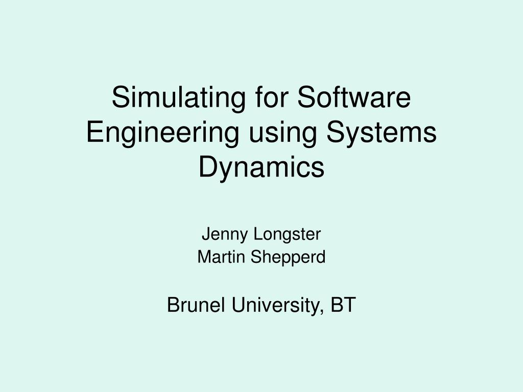 simulating for software engineering using systems dynamics l.