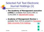 selected full text electronic journal holdings ii