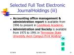 selected full text electronic journal holdings iii
