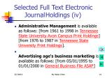 selected full text electronic journal holdings iv