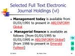 selected full text electronic journal holdings vi