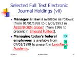 selected full text electronic journal holdings vii