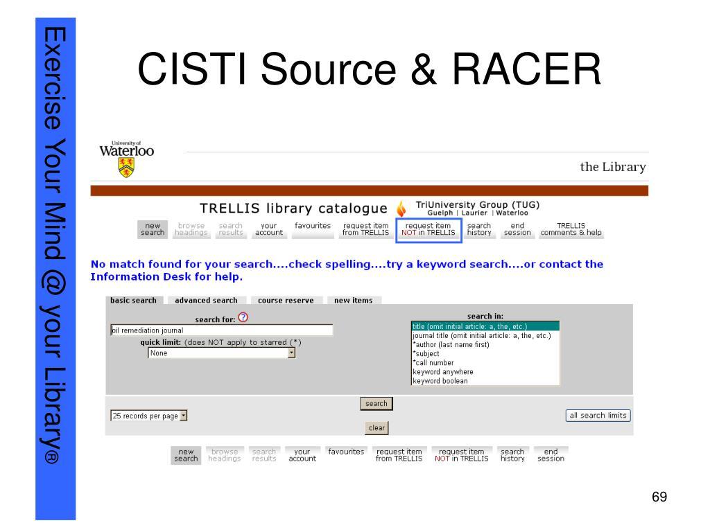 CISTI Source & RACER