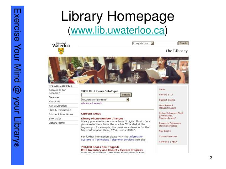 Library homepage www lib uwaterloo ca