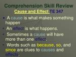 comprehension skill review cause and effect te 347