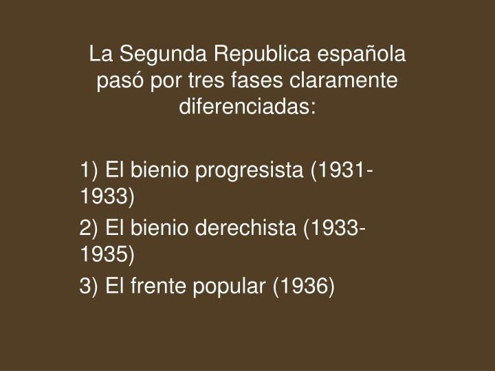 La Segunda Republica española pasó por tres fases claramente diferenciadas:
