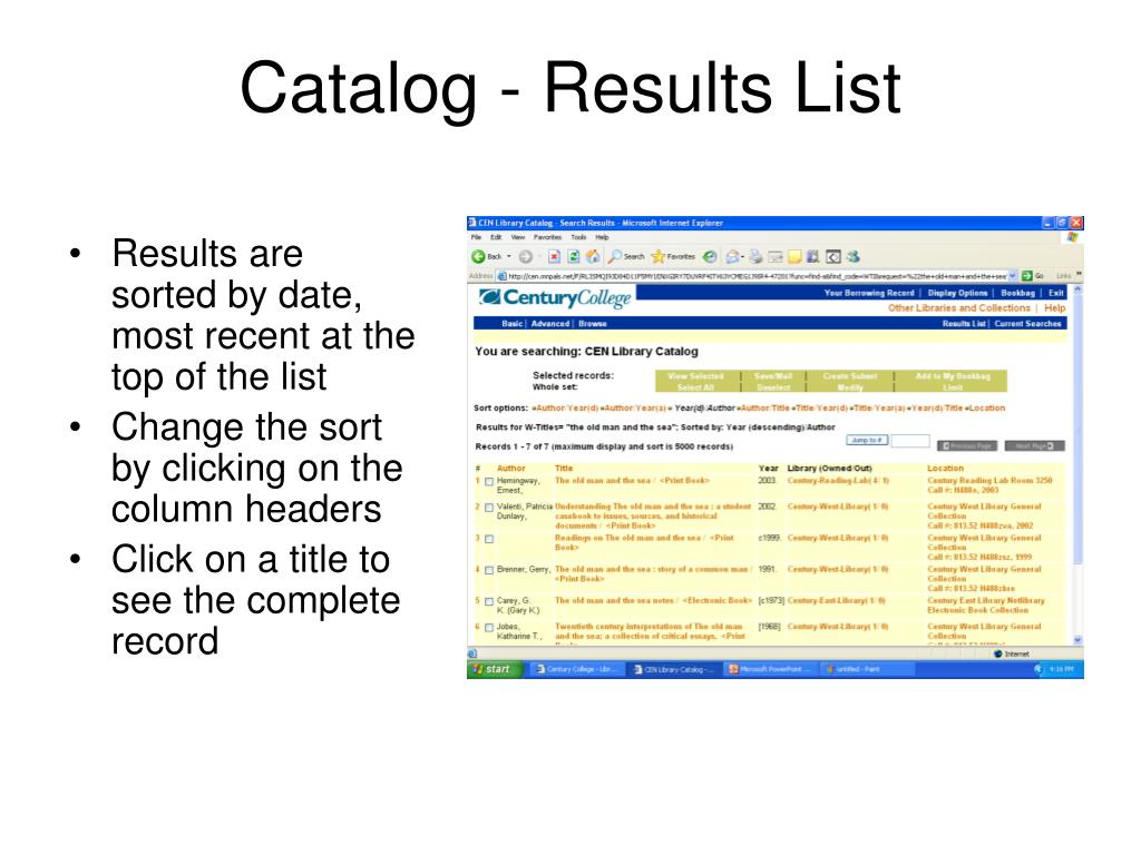 Catalog - Results List
