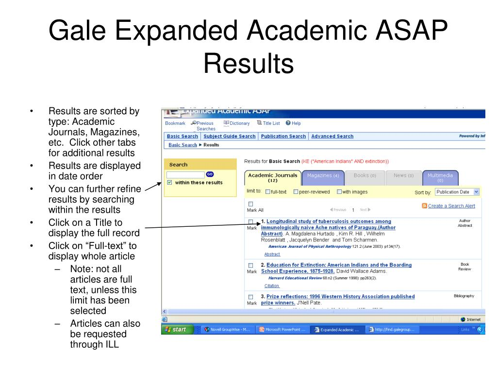 Results are sorted by type: Academic Journals, Magazines, etc.  Click other tabs for additional results