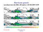 hurricane genesis a observed b era 40 and c echam5 t159