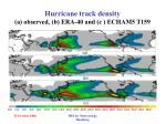 hurricane track density a observed b era 40 and c echam5 t159