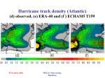 hurricane track density atlantic d observed e era 40 and f echam5 t159