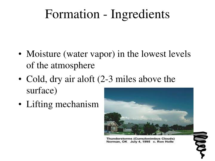 Formation ingredients