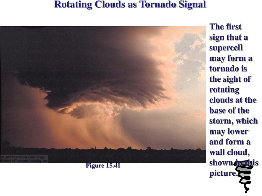 Rotating Clouds as Tornado Signal