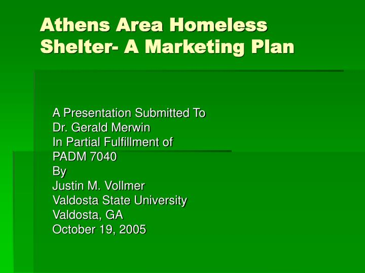 athens area homeless shelter a marketing plan n.