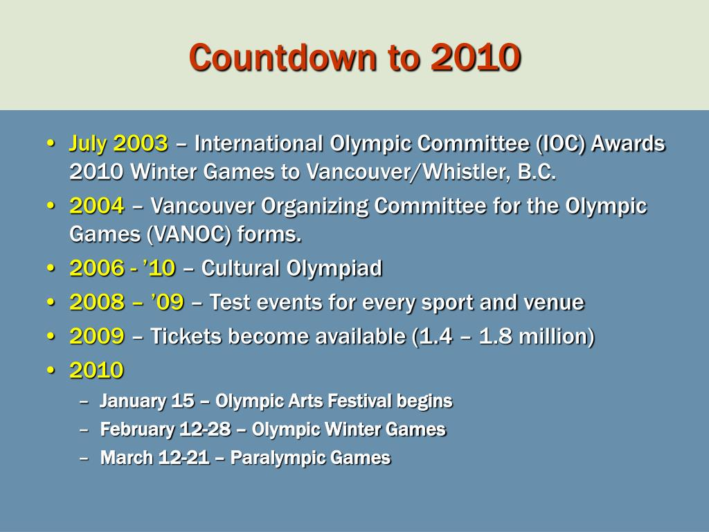 Countdown to 2010