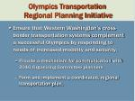 olympics transportation regional planning initiative