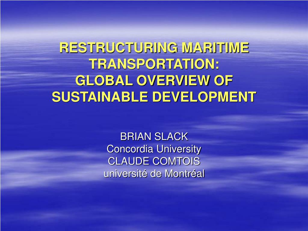 restructuring maritime transportation global overview of sustainable development l.